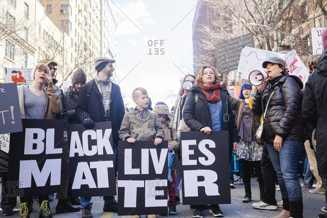 New York, NY - March 24, 2018: Black Lives Matter supporters at street rally