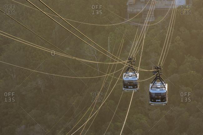 September 20, 2017: Overhead cable cars at Sugarloaf Mountain, Rio de Janeiro, Brazil