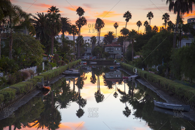 October 16, 2017: One of famous canals at sunset, Venice Beach, Los Angeles, California, USA