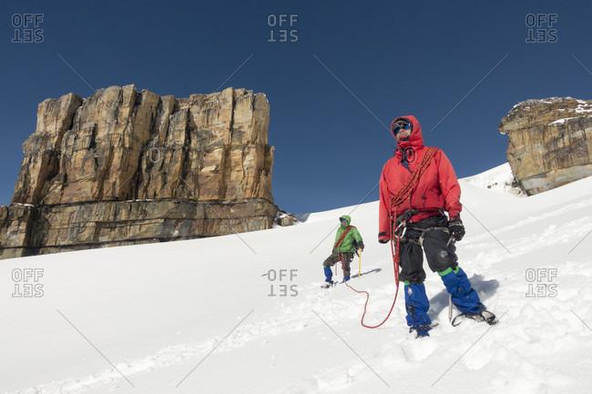 September 7, 2015: Two people climbing at Pulpito del Diablo at Sierra Nevada del Cocuy, Boyaca, Colombia