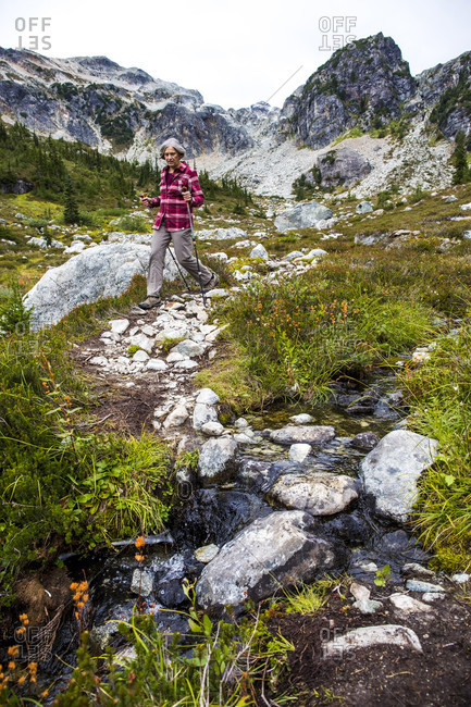 A woman hikes through Brandywine Meadows, an alpine meadow very popular in the winter for backcountry snowmobiling, an a fall day and takes in the picturesque view of the surrounding mountains. Whistler, British Columbia, Canada