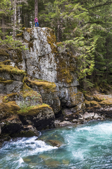 Scenery of cliff above river, Whistler, British Columbia, Canada