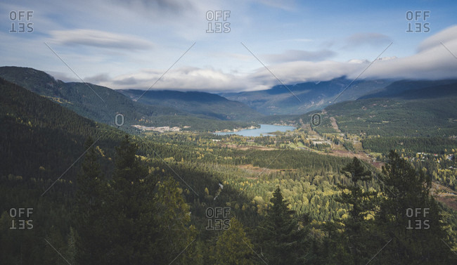 View of Whistler and Green Lake from lookout along Flank Trail, British Columbia, Canada