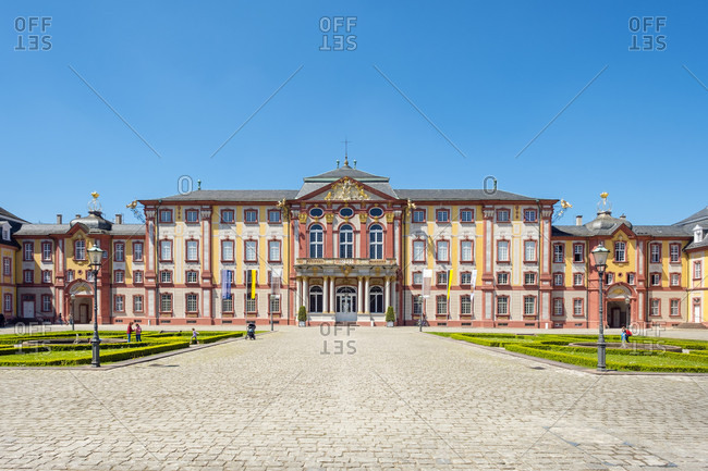 May 10, 2017: Schloss Bruchsal palace complex built in baroque style in 1720, Bruchsal, Baden-Wurttemberg, Germany