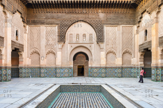 December 13, 2016: Ornate courtyard of Ben Youssef Madrasa college, Marrakesh, Marrakesh-Safi, Morocco