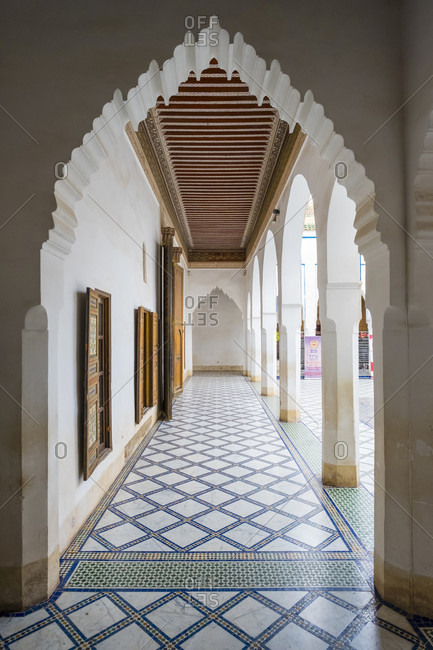December 15, 2016: Columns and archways inside Bahia Palace, Marrakesh, Marrakesh-Safi, Morocco