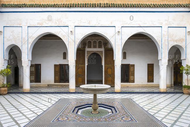 December 15, 2016: Courtyard and small fountain of Bahia Palace, Marrakesh, Marrakesh-Safi, Morocco
