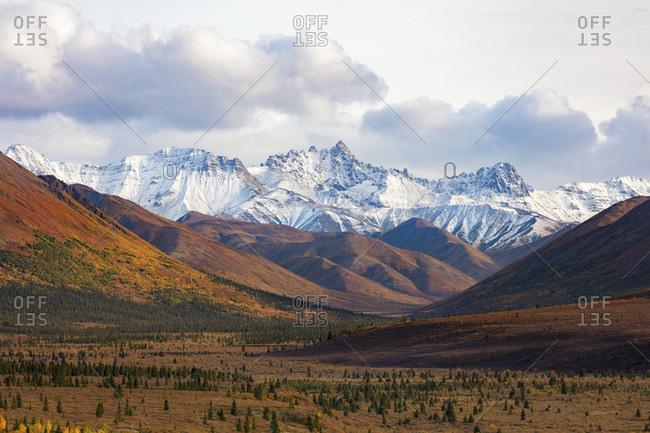 Scenery with snowcapped mountains of Alaska Range, Denali National Park, Alaska, USA