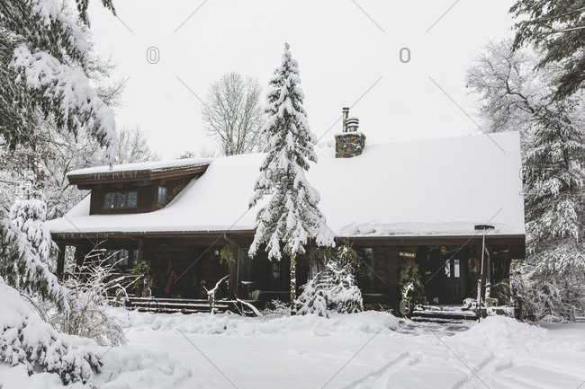 Snow covered trees and cottage against sky in forest