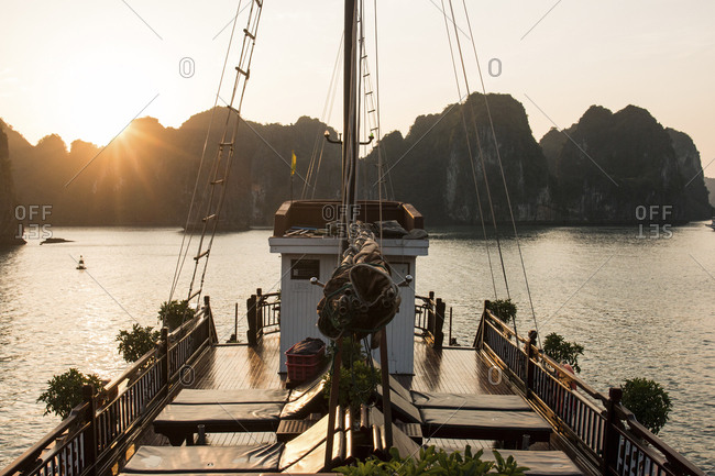 High angle view of boat on Ha Long Bay against clear sky during sunset