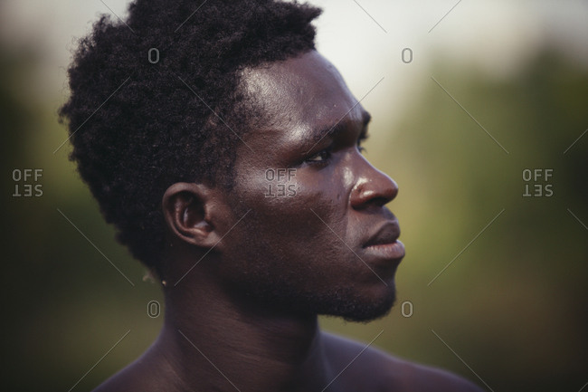 Close-up of thoughtful farmer looking away