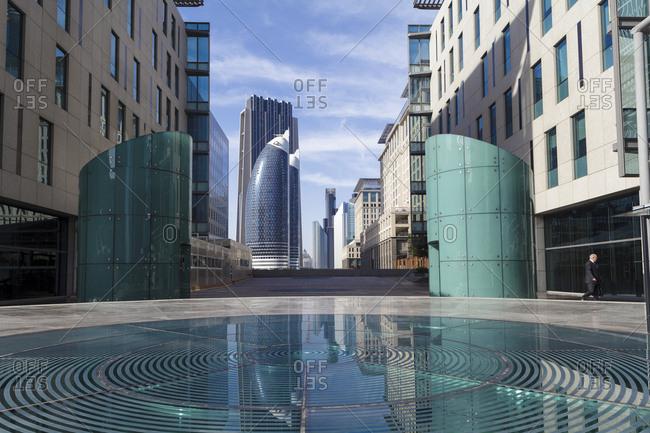 Dubai, United Arab Emirates - April 9, 2013: Dubai International Financial Centre (DIFC)