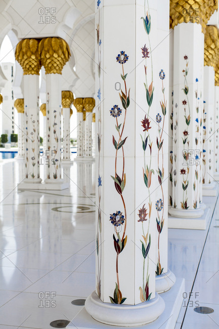 Abu Dhabi, United Arab Emirates - March 16, 2013: Floral columns at the Sheikh Zayed Mosque