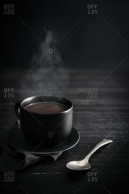 Cup of steaming hot chocolate