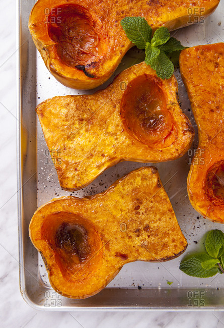 Overhead of roasted butternut squash