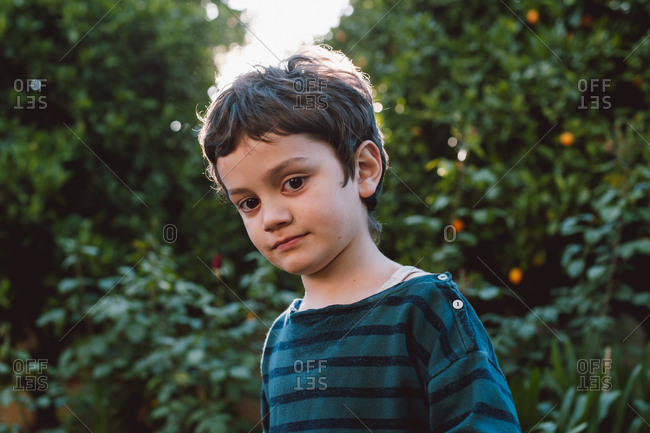 Portrait of thoughtful young boy in yard backed by trees