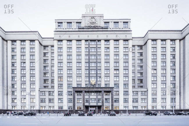 Russia, Moscow - The exterior of Lower House of Parliament, or State Duma, on Okhotny Ryad in the heart of Moscow