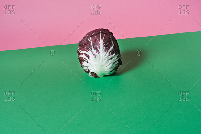 Red cabbage on a colorful background