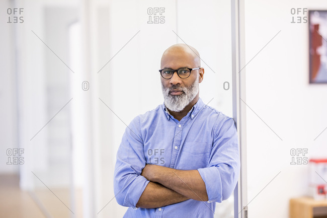 Portrait of bald businessman with beard and glasses in the office