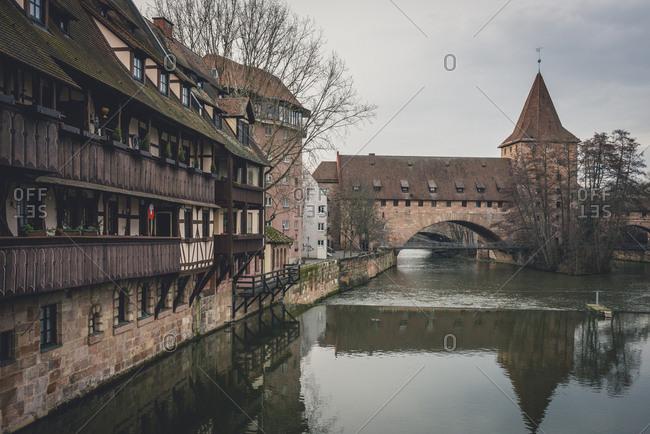 February 6, 2018: Germany- Bavaria- Nuremberg- Old town- Hallertor Bridge- Pegnitz river