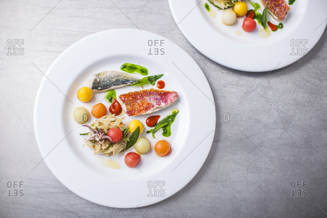 Dish with seafood and vegetables