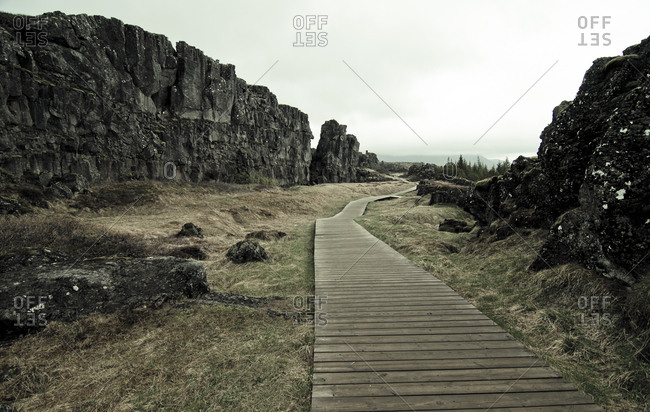 Iceland- Thingvellir National Park- Thingvellir rift zone- wooden walkway