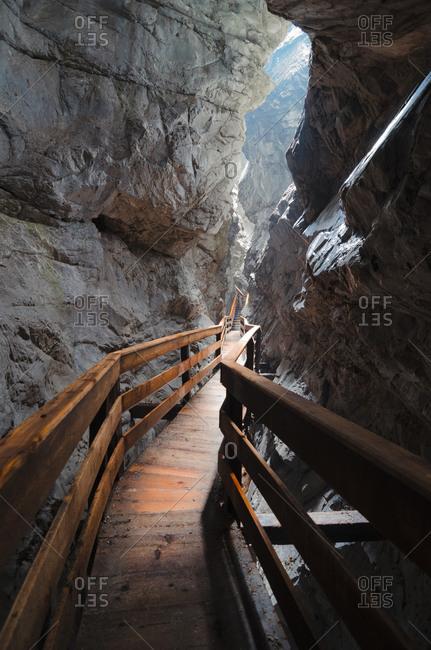 Austria- Salzburg State- Lofer- Vorderkaserklamm- wooden walkway