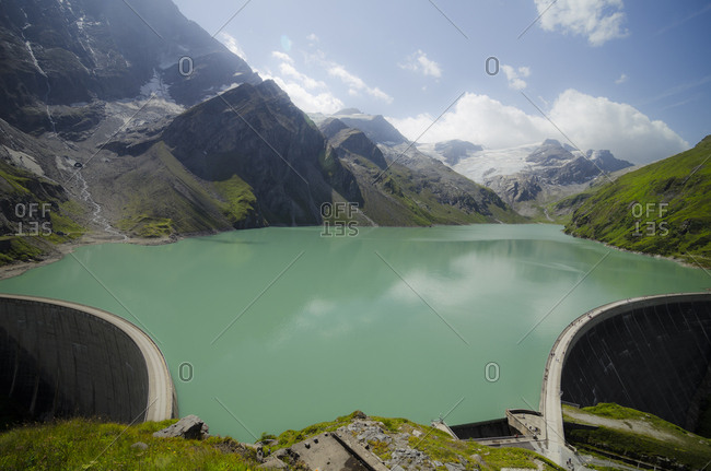 Austria- Kaprun- Mooserboden dam with walls