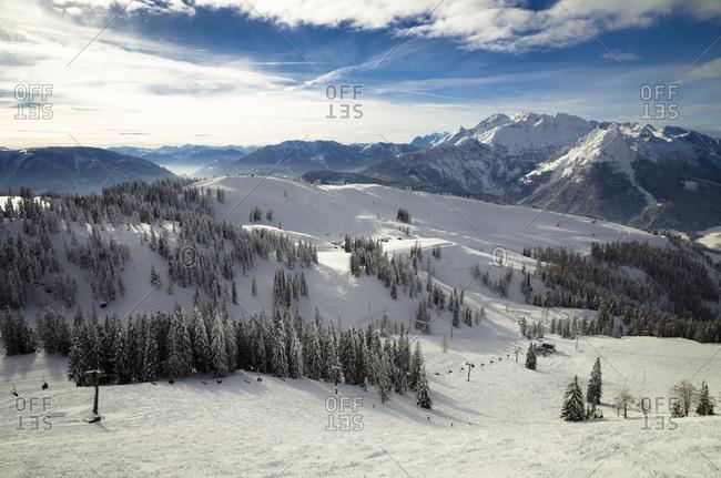 Austria- Salzkammergut- Ski region Dachstein-West- ski lift and ski slope