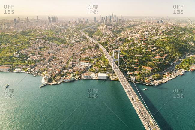 May 3, 2017: Turkey- Bosporus bridge and the european Istanbul in the background