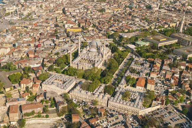 Turkey- Istanbul- Aerial view of Suleymaniye mosque