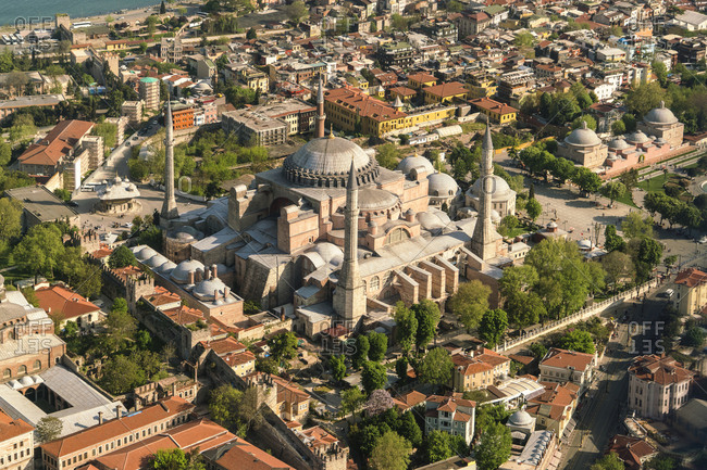 Turkey- Istanbul- Aerial view of Hagia Sofia Mosque