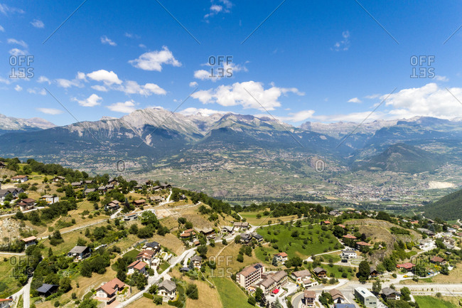 Switzerland- italian switzerland- Alps- Aerial of an village