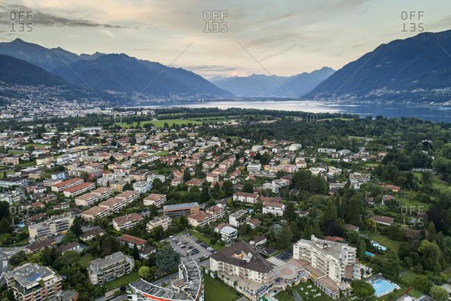 Switzerland- Ticino- Aerial view of Locarno- Lake Maggiore