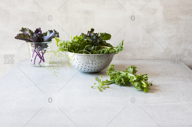 Kale in a vase and leafy greens in a colander