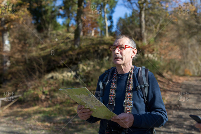 Older looking into nature with map in forest