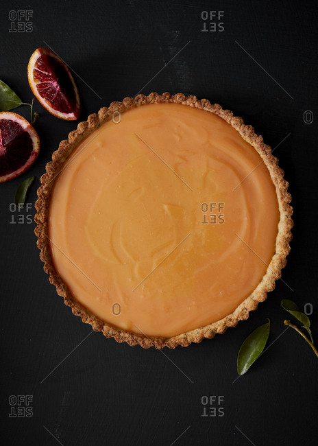 Homemade blood orange tart