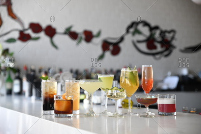 Variety of cocktails served at bar