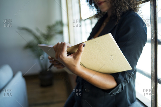 Young businesswoman looking at notebook in office