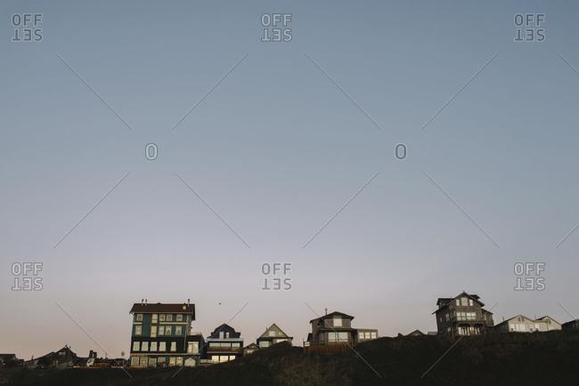 Row of beach houses in Oregon coastal town