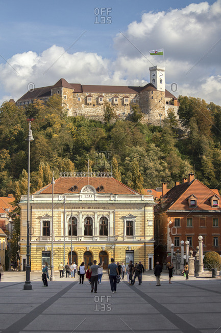October 1, 2016: The Philharmonic Academy and the Castle of Lubiana, Slovenia, Europe