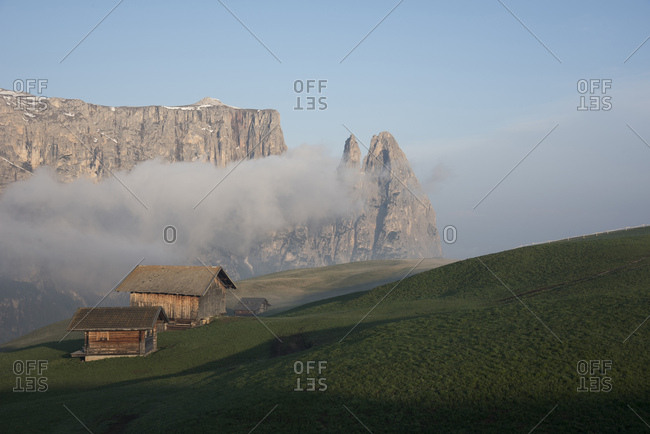 Iconic view of Sciliar Mountain from Seiser alm, dolomites, Italy