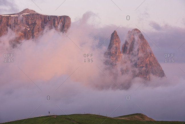 Sciliar or Schlern mountain during sunrise, Seiser Alm, dolomites, Italy