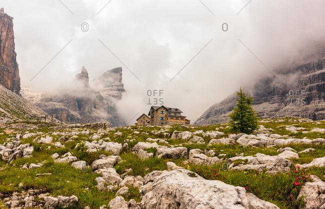 The Rifugio Tuckett Sella hut in the Brenta dolomites, Madonna di Campiglio, Trentino Alto Adige, Italy