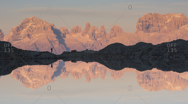 Reflection on Cornisello lake, Dolomites of Brenta, Trentino Alto Adige, Italy