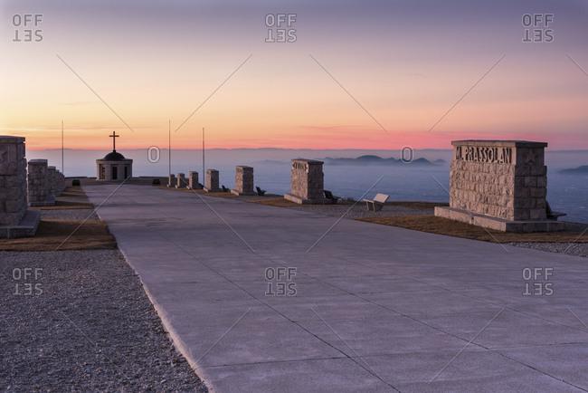 April 22, 2018: First world war memorial, sunrise from Cima Grappa mount, Crespano del Grappa, Italy