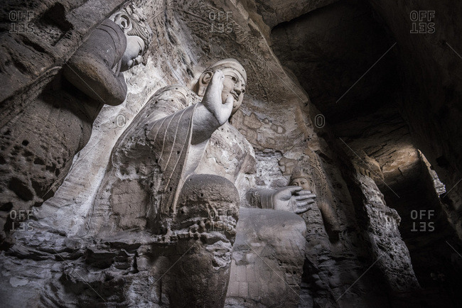 The beautiful ancient remains of Buddha Statue in Yungang Grottoes, Datong, Shanxi Province, China