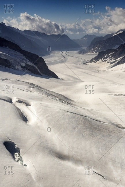Aletsch glacier, the largest in Europe, from Jungfraujoch, the highest railway station in the Alps, Bernese Oberland, Switzerland, Europe