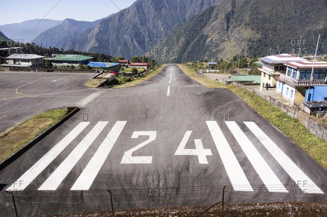 Chaurikharka, Nepal - October 24, 2013: The Lukla Airport runway, Nepal