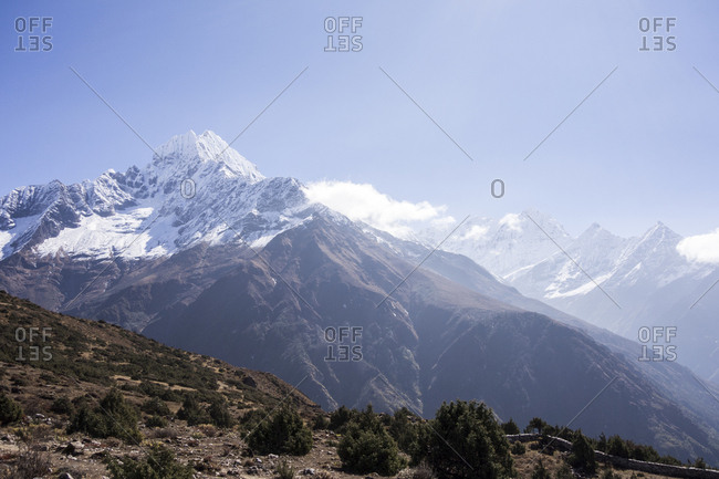 Snow-capped hills in the Himalayas, Nepal